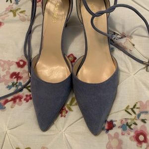 Nine West Ankle Tie Powder Blue Pointy Toe Pumps